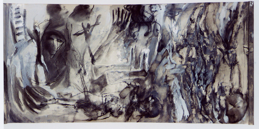 A Letter to No One - 110x55cm, Mixed media on paper on canvas.
