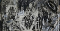 A Letter to No One - 110x55cm, Mixed media on paper on canvas