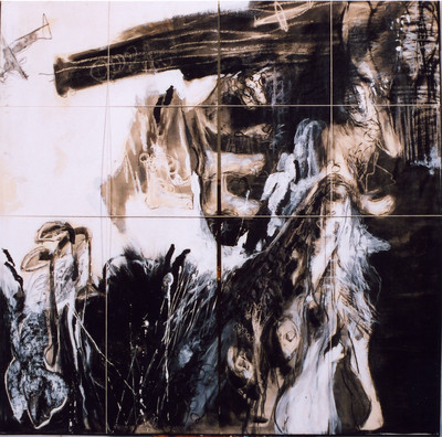 Black Rain 2, 130 x 130cm, mixed media on canvas