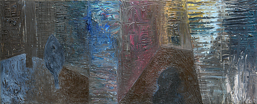 Dark walls (10) 40x100cm, Oil on Board